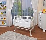 WALDIN Cuna colecho para bebé, cuna para bebé, con protector y colchón, lacado en blanco,color...